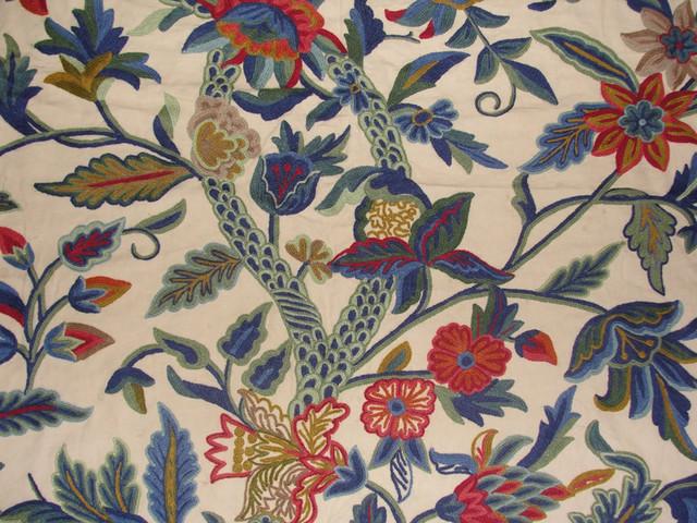 Crewel Fabric Hibiscus Vine Multicolor On Sweetpine Cotton