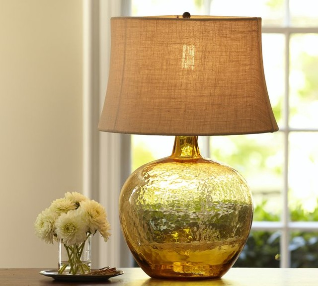 clift glass table lamp base amber contemporary lamp. Black Bedroom Furniture Sets. Home Design Ideas