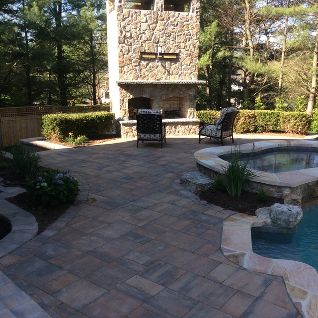 Pool, Spa and Outdoor Fireplace traditional-landscape