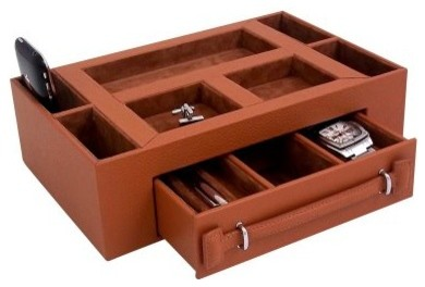 Leather Valet Box with Pen & Watch Drawer - Tan Leather - 11W x 3H in. modern-storage-bins-and-boxes