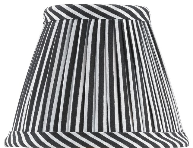 Black And White Stripe Cotton Pleated Shade Transitional