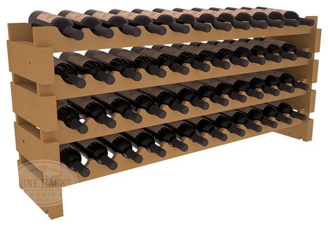 48 Bottle Scalloped Wine Rack in Pine with Oak Stain contemporary-wine-racks
