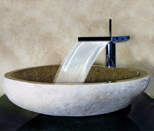 Yosemite Home Decor Hand Carved Boulder Vessel Sink, Sand