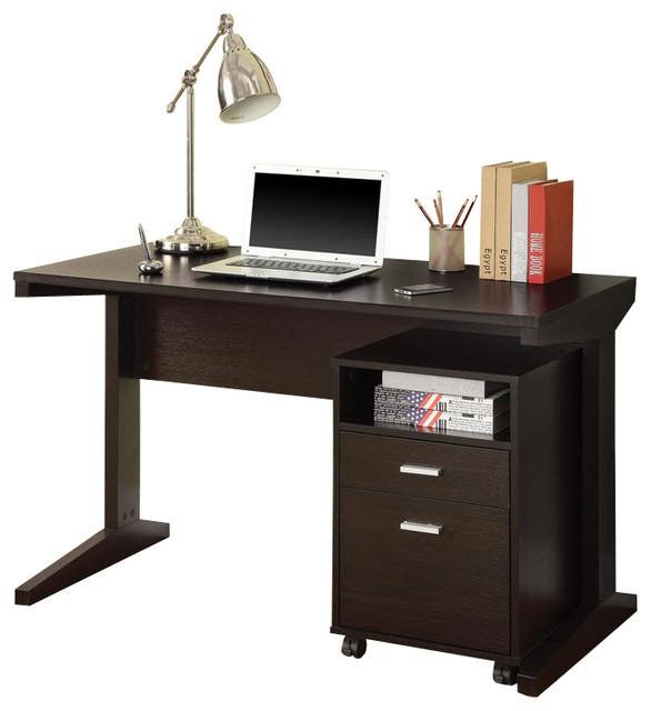 Simple Casual Cappuccino Computer Desk w/ Open Shelf Drawer Rolling File Cabinet - Contemporary ...