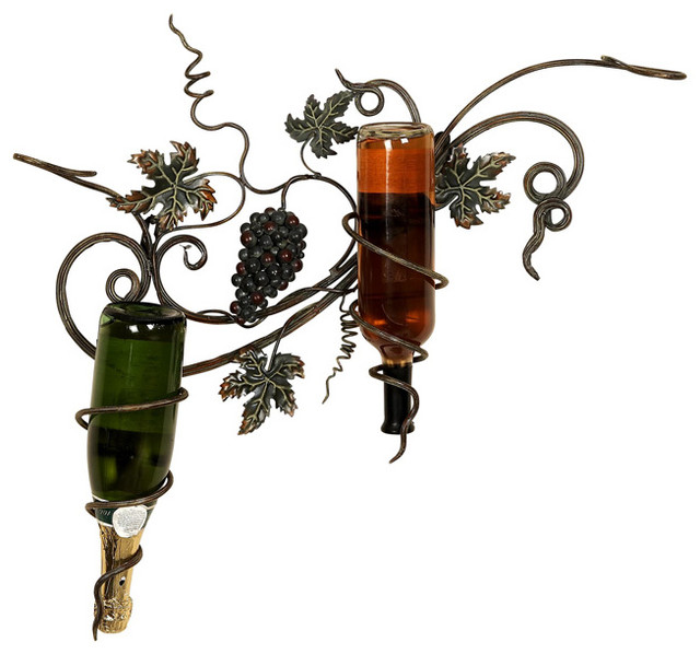 Handcrafted Metal Deluxe Grapes Wall Wine 2-Bottle Holder ...