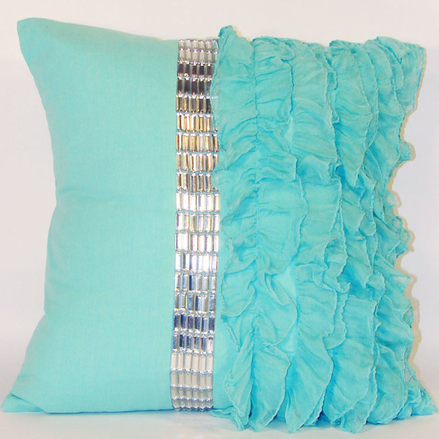 Turquoise Jewel and Chiffon Ruffle Throw Pillow - Modern - Decorative Pillows - by Rosenberry Rooms