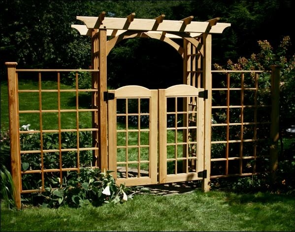 Red Cedar Canterbury Arbor W Gate 2 Wings Contemporary
