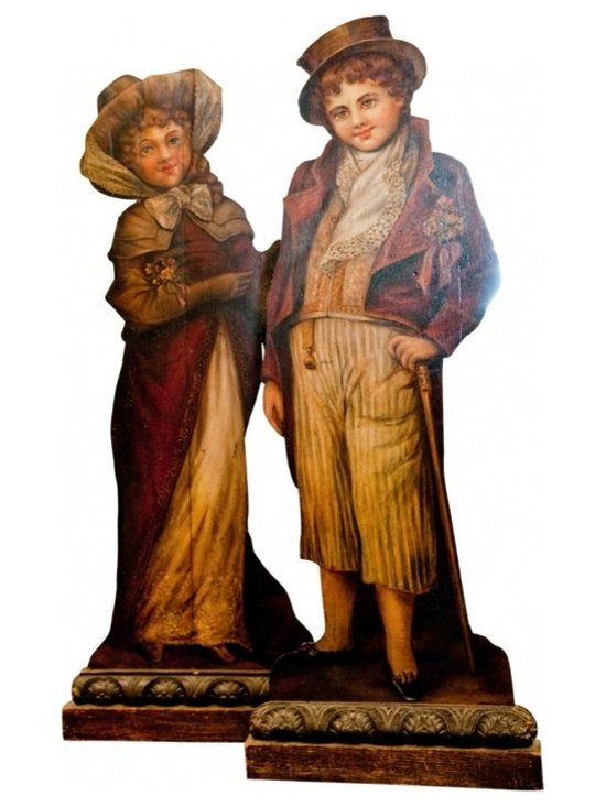 Victorian Cutout People - It is rare that you get them as a couple.  Today you get them as a couple.  These two victorian people have been kept in excellent condition. They stand upright and have little to no wear.