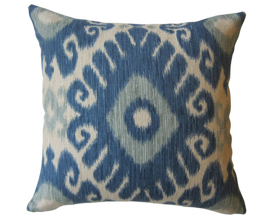 KH Window Fashions, Inc. - Shades of Blue and Ivory Ikat Decorative Pillow, With Insert - Shades of Blue and Ivory Ikat Pillow.  Perfect to toss on your bed or sofa.