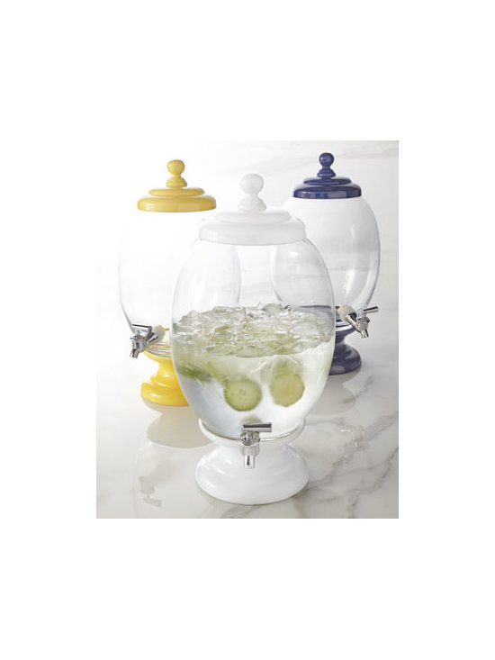 "Horchow - Beverage Server - Guests can serve themselves and leave you free to mix and mingle when beverages are presented in one of this elegantly simple beverage servers. Made of glass and ceramic. Select color when ordering. Hand wash. 9""Dia. x 18""T; holds 2.2 gallons. Impo..."