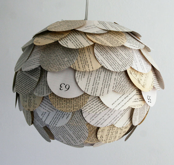 Artichoke Mixed Book Page Pendant Light by Zipper 8 Lighting eclectic-pendant-lighting