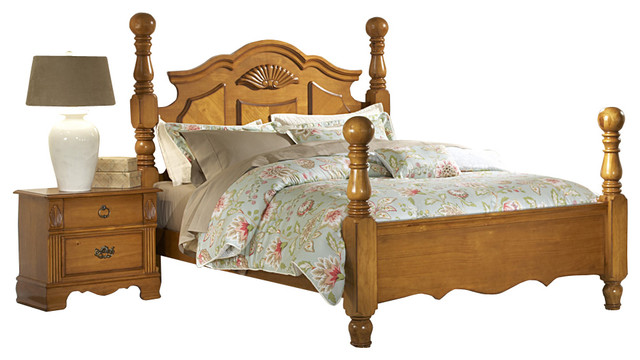 Homelegance Archdale 2 Piece Poster Bedroom Set In Warm Honey Pine Traditional Bedroom