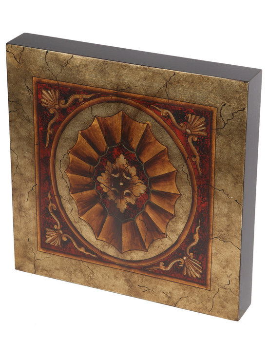 Brandi Renee Designs - Gold with Red Medallion Handpainted Wall Art, Wood Tile - This stunning hand painted wall tile is one of a large collection of wall art pieces that can be used in a wall grouping or alone in a small space.