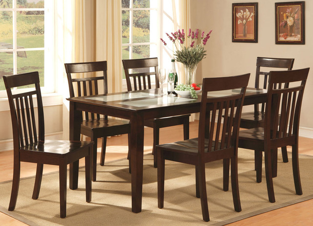 Capri 7Pc Set with Glass Top Table and 6 Wood Seat Chairs  : modern dining tables from www.houzz.com size 640 x 462 jpeg 103kB
