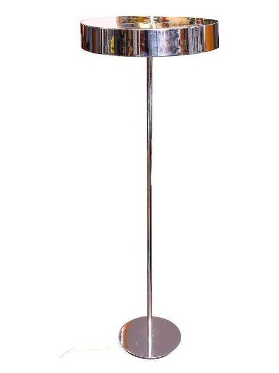 Pre-owned 1950s Kurt Versen-Style Chrome Floor Lamp - This 1950s American Modern Chrome Floor Lamp has a matching chrome cylindrical shade. The lamp only has one illumination setting but accommodates 3 bulbs. There are a few scratches to the base (one deep scratch towards the edge and two light scratches in the middle), but overall the lamp is in excellent, vintage condition.