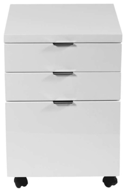 Eurostyle Gilbert File Cabinet w/ Casters in White Lacquer - Modern - Filing Cabinets - by ...