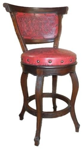Spanish Heritage Round Hardwood Barstool (Set of 4) modern-bar-stools-and-counter-stools