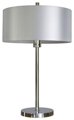 1 Light Portable Table Lamp in Chrome Finish with Pristine White Shade contemporary-table-lamps
