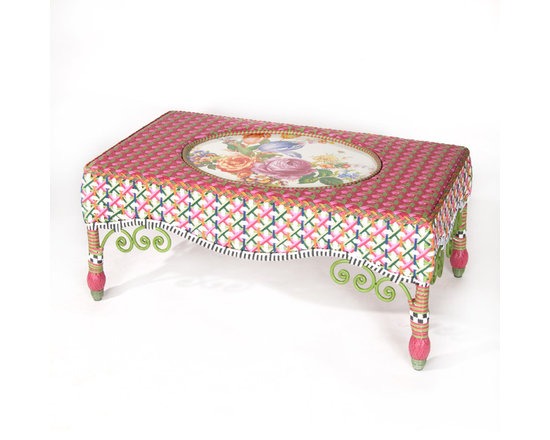 Flower Market Outdoor Coffee Table | MacKenzie-Childs - Our Flower Market Outdoor Furniture Collection blooms where planted. We've captured the colors of summer in Aurora—pink, fuchsia, green, orange, red and blue—with this collection. Fancy, fun, and just a touch eccentric, with inset Flower Market enamelware panels and black and white accents, front and back. Sturdy, easy care, and made to withstand the elements. Hand-woven resin wicker, powder-coated metal accents, solid iron frame.