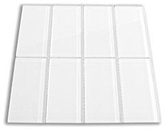 White Glass Subway Tile, Sample modern-tile