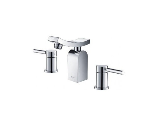 Kraus Unicus Three-Hole Basin Faucet Chrome KEF-14303CH - One of a kind design, sleek lines in a bright polished chrome appearance brings an implied look to any bathroom decor