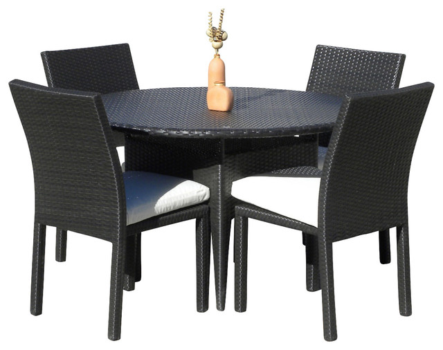 Outdoor Wicker New Resin 5 Piece Round Dining Table and Chair Set Contempor