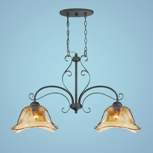 Chatsworth Burnished Gold Two-Light Island Pendant with Umber Swirl Glass modern-pendant-lighting