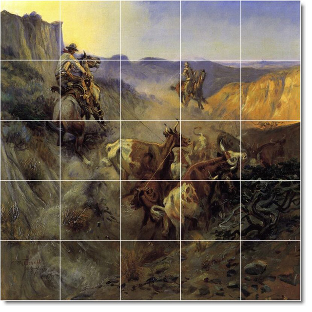 The Slick Ear Tile Mural By Charles Russell traditional-tile