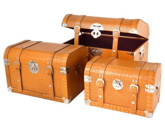 "Traders and Company - Faux Crocodile Skin Round-Top Steamer Trunks, Set of 3 - Lg = 19.75""Lx13""Wx13""H - European-inspired faux crocodile skin trunks, trays, boxes and carry-alls. Reminiscient of early 20th century railway fashion; bright and classic looking pieces warm and enliven a space while providing functional storage and stylish display. Alternate shapes & styles sold separately. Dimensions: Lg = 19.75""Lx13""Wx13""H, Md = 17""Lx11""Wx11""H, Sm = 14.25""Lx8.5""Wx9.25""H"
