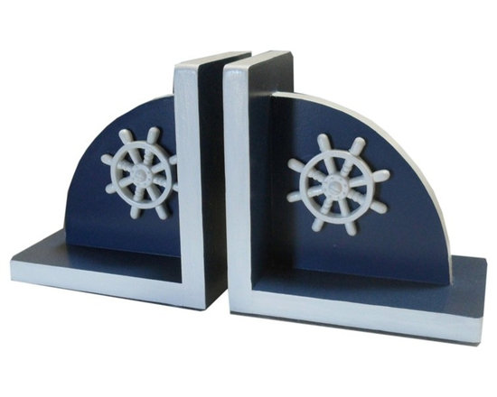 Charn&Co. - Bella Ships Wheel Bookends - Bella Ships Wheel Bookends are the perfect cottage style and shabby chic dcor item for your book shelf.