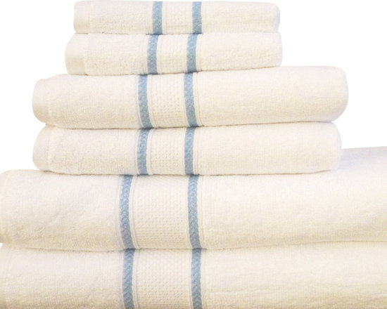 "Casa-Platino - Quick Dry-100% Egyptian Cotton 6 Piece Towel Set, White - Two bath towels 28"" x54"""