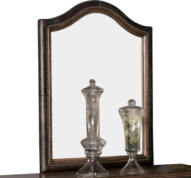 American Drew Americana Home Leather Mirror in Warm Oak traditional-mirrors