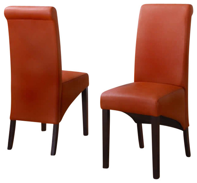 Modus Cosmo Sleigh Back Dining Parsons Chair In Sienna Set Of 2 Modern
