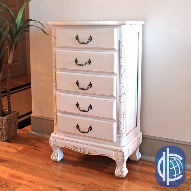 International Caravan Antique White Carved Wood Five Drawer Jewelry Cabinet - Contemporary ...