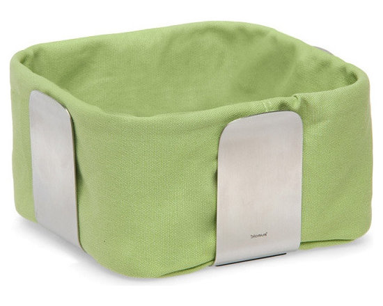Blomus - Desa Bread Basket - Small, Green - The Desa Bread Basket from Blomus is available in your choice of 4 colors and 2 sizes. Made with brushed stainless steel and cotton fabric.