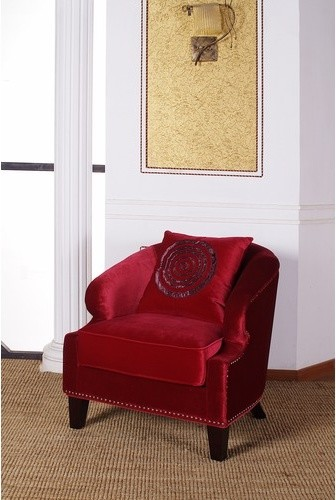 Contessa Velvet Club Chair in Red modern-accent-chairs