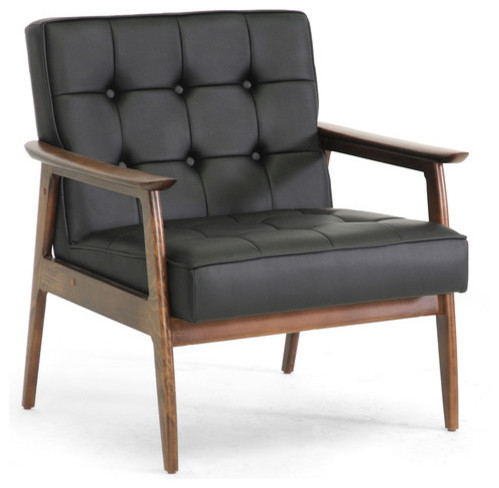 Black mid century modern club chair contemporary for 4 living room chairs
