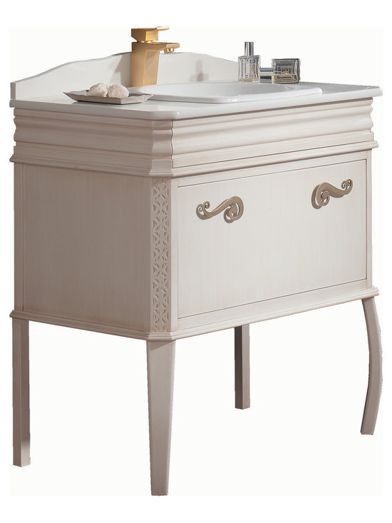 "Macral London 32"" single sink vanity. Ivory patina. -"