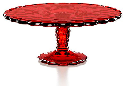 ideas for home gym in garage - Martha Stewart Collection Serveware Red Optic Glass Cake