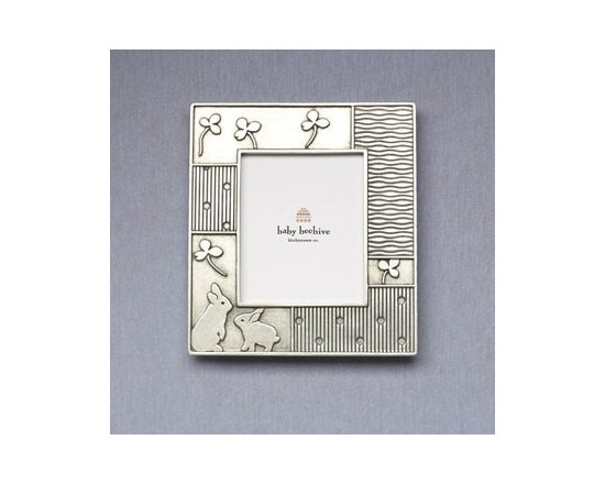 Beehive Rabbit Picture Frame - Inspired by heirloom baby quilts, the pewter Rabbit Frame by Beehive is the perfect setting for photographs of the little ones.