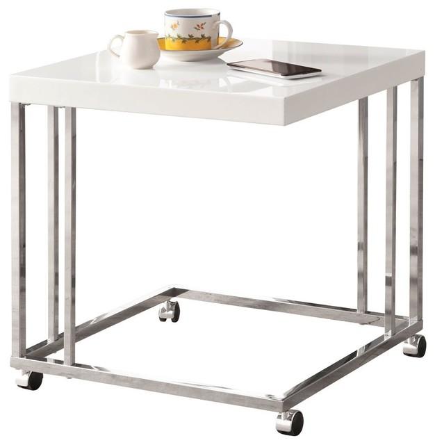 Snack Table, High Gloss White/Chrome