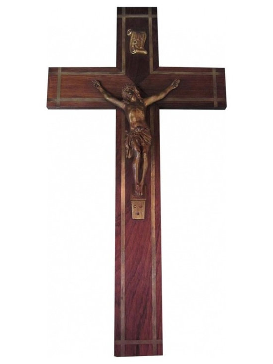 "French Inlaid Brass & Mahogany Crucifix - This dramatic, oversized French crucifix is made from Mahogany with inlaid brass accents. The Christo figure and ""Inri"" placque have a deep rubbed gold finish. The cross stands approximately 20 inches tall and spans nearly 11 inches in width."