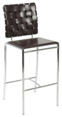Euro Style Carina Woven Leather Counter Stool - Brown - Set of 2 modern-bar-stools-and-counter-stools