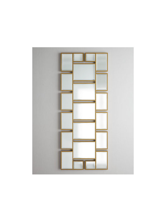 """Horchow - Geometrix Panel Mirror - A series of rectangular beveled mirrors come together to form a pleasing geometric-inspired panel mirror that can hang vertically or horizontally. Made of plywood and mirrored glass. Gold-leaf finish. 24""""W x 60""""T. Imported. Boxed weight, approximat..."""