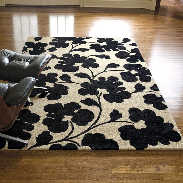 Off white black poppy shadows wool area rug traditional rugs by