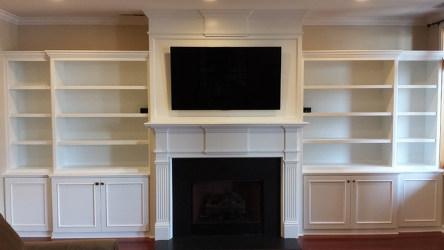 Custom Built In Bookshelves And Belmont Double Fireplace Mantel Traditional Living