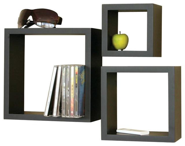 victorian cube 3 piece shelf set black contemporary. Black Bedroom Furniture Sets. Home Design Ideas