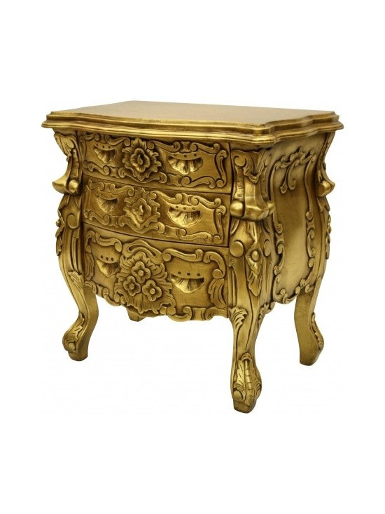 Chichi Furniture Exclusives. - A highly ornate Rococo Table of classic design. Three intricately carved drawers set inside a beautifully designed frame. This item would make lavish bedside and hallway tables.
