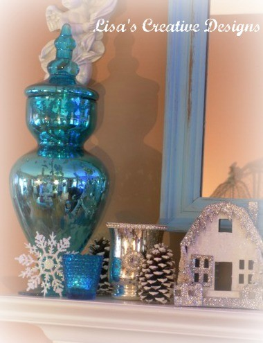 A Winter Inspired Mantel / Mantle  living room