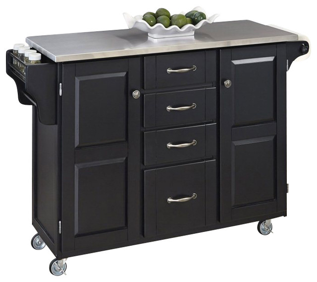 Home Styles Furniture Stainless Steel Kitchen Island Cart in Black Traditio